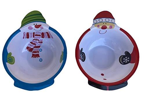 Snowman Snack - Christmas Santa & Snowman Belly Melamine Deep Snack Bowl Set