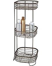 mDesign Półka narożna prysznicowa – Praktyczny organizer pod prysznic – Wolnostojąca półka pod prysznic z 3 koszami na szampon, żel pod prysznic i odżywkę – Półka pod prysznic z metalu – brąz