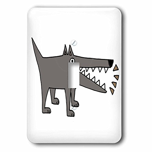 All Smiles Art Pets - Funny Cute Gray Watchdog Barking Cartoon - Light Switch Covers - single toggle switch (lsp_245438_1) -