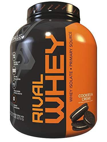 Rivalus Rivalwhey - Cookies and Crème 5lb - 100% Whey Protein, Whey Protein Isolate Primary Source, Clean Nutritional Profile, BCAAs, No Banned Substances, Made in USA