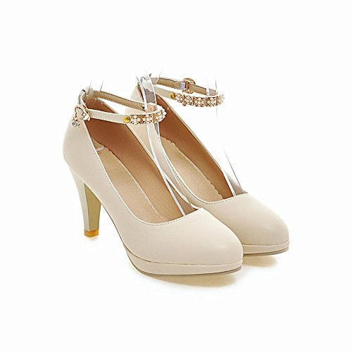 Mee Shoes Damen Ankle strap Strass Plateau high heels Pumps Beige