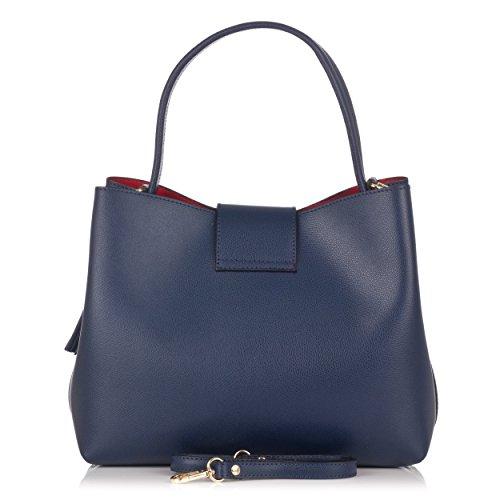 Laura Moretti - Bolso de piel Palmellato con borla decorativa estilo BANDOLERA Azul