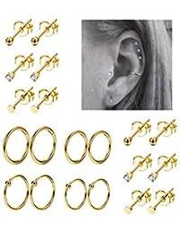 10Pairs Stainless Steel Cartilage Earrings for Men Women Stud Earrings Ball CZ Tragus Helix Piercing