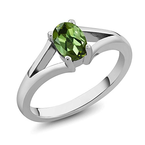 0.85 Ct 7x5mm Oval Green Tourmaline 925 Sterling Silver Women's Solitaire Ring (Size 7)