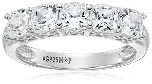 Platinum or Gold Plated Sterling Silver Cushion-Cut 5-Stone Ring made with Swarovski Zirconia, Size 6