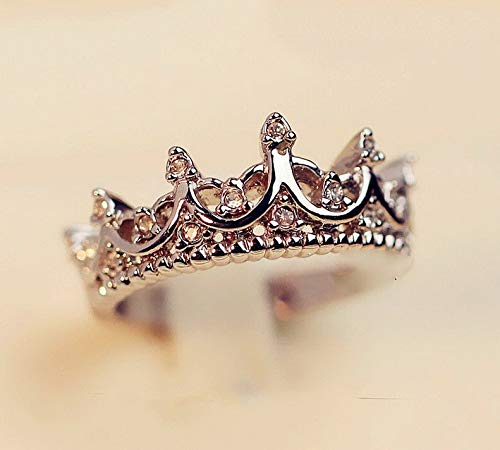Campton Hot Fashion Princess Women Rose Gold Silver Rhinestone Crown Ring Size 5 6 7 8 9 | Model RNG - 11858 | 9