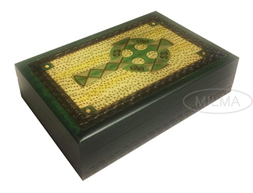 Celtic Cross Irish Green Jewelry Keepsake Box with Brass Inlay