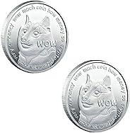 2PCS Dogecoin Coins Commemorative 2020 New Collectors Gold Plated Doge Coins, Gold Dogecoin Coins Commemorativ