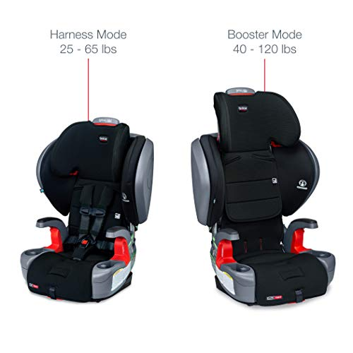 41wEcZKflvL - Britax Grow With You ClickTight Plus Harness-2-Booster Car Seat | 3 Layer Impact Protection - 25 To 120 Pounds, Jet Safewash Fabric [New Version Of Pinnacle]