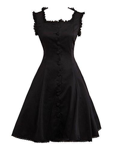 Hugme Classic Black Cotton Square Neck Lolita Jumper Skirt