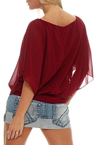 Oversize Taille malito Blouse Rouge Unique Loose Tunique Haut Bordeaux Femme lgant 6296 FgFZ1O