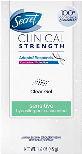 Secret Clinical Strength Clear Gel Antiperspirant & Deodorant Sensitive, Unscented 1.6 oz (Pack of 11) by Secret