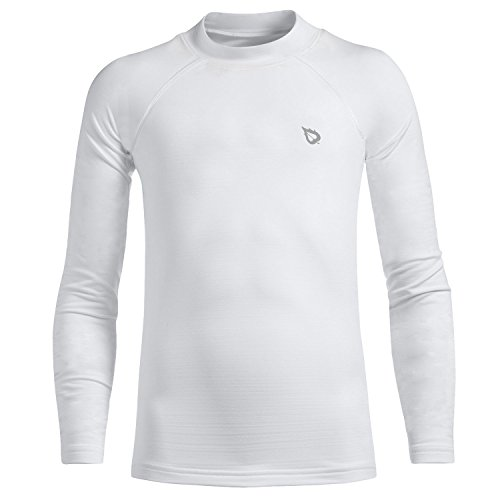 - Baleaf Youth Boys' Compression Thermal Shirt Fleece Baselayer Long Sleeve Mock Top White Size L