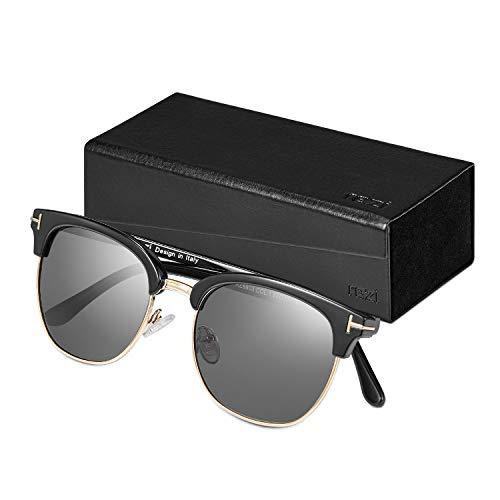 Rezi Retro Semi Rimless Polarized Sunglasses for Men Women, Half Frame Glasses (Black)