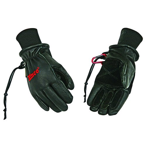 Kinco 900MAX-L Men's Pigskin Ski Glove, ReVive Waterproofing, Heat Keep Thermal Lining, Large, Black