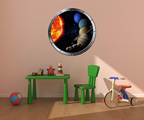 24'' Porthole Instant Space Ship Window View SOLAR SYSTEM #4 SILVER Wall Decal Kids Sticker Room Home Art Décor Graphic MEDIUM by Decal up the Wall Graphics