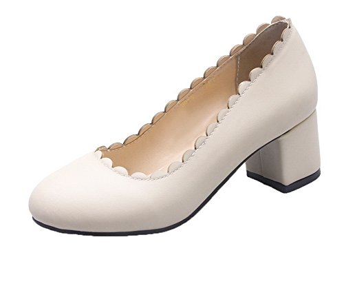 Beige Closed Toe Kitten Shoes Pull Round Heels Pu Pumps On Women's AllhqFashion Solid Z7q6nBwnW