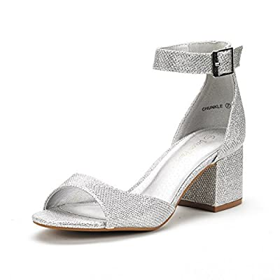 DREAM PAIRS Women's Silver Glitter Low Heel Pump Sandals Ankle Strap Dress Shoes Size 8.5 M US Chunkle