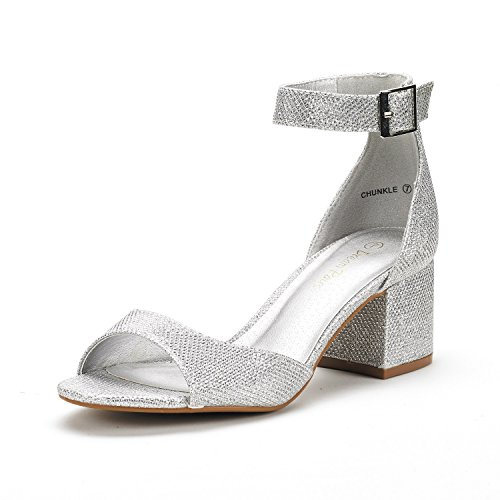 Dream Pairs Women's Chunkle Silver Glitter Low Heel Pump Sandals - 8 M US