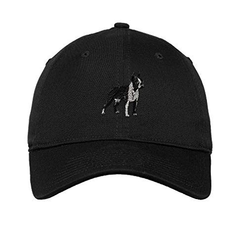Speedy Pros Low Profile Soft Hat Boston Terrier A Embroidery Dog Name Cotton Dad Hat Flat Solid Buckle - Black, Design Only
