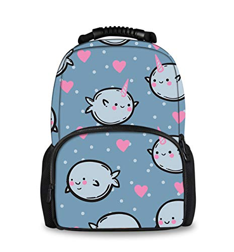 Durable Water Resistant nicorn Narwhal Love Backpack, Travel Outdoors Backpack for Students Boys Girls (Best Waterproof Backpack India)