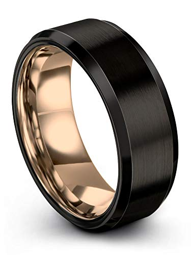 (Midnight Rose Collection Tungsten Wedding Band Ring 8mm for Men Women 18k Rose Gold Plated Bevel Edge Black Brushed Polished Size 10.5)