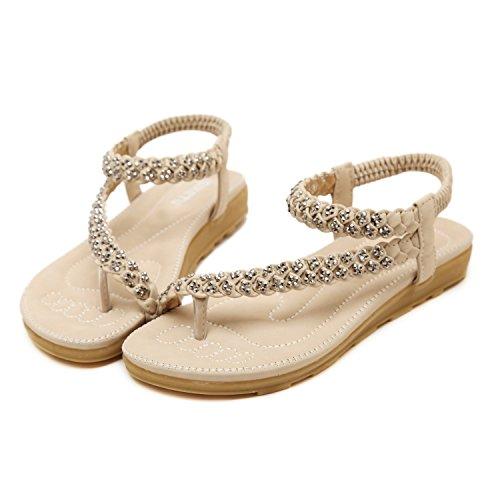 Sandale De Pour String Perles Sangle 2 Femme Cheville Dqq Beige Bgq0xHg
