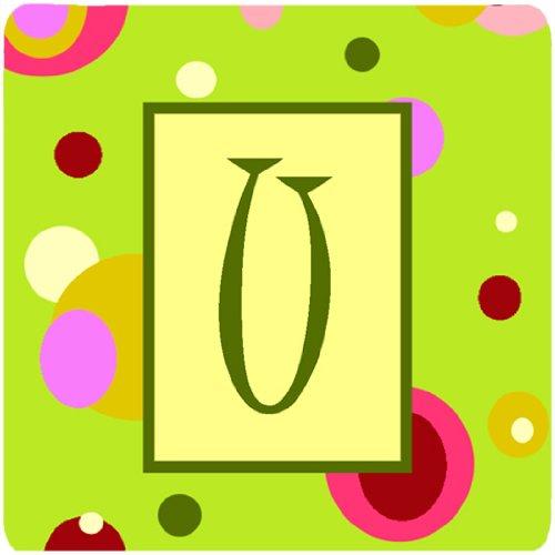Set of 4 Initial Letter U Carolines Treasures CJ1010-UFC Monogram-Green Foam Coasters Multicolor 3.5 H x 3.5 W