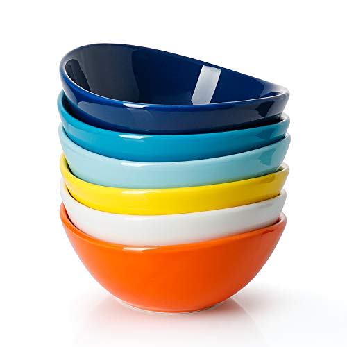 Sweese 1107 Porcelain Bowls - 10 Ounce for Ice Cream, Dessert - Set of 6, Hot Assorted Colors