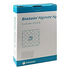 biatain Alginate AG compresas 5 x 5 cm con plata 10 St