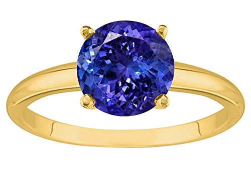 1/2 5 Carat 14K Yellow Gold Round Tanzanite 4 Prong Diamond Engagement Ring (AAA Quality)