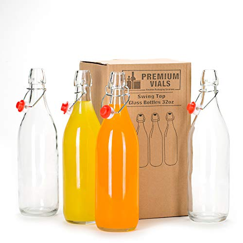 Set of 2-33.75 Oz Giara Glass Bottle with Stopper Caps, Carafe Swing Top Bottles with Airtight Lids for Oil, Vinegar, Liquor, Beer, Water, Kombucha, Kefir, Soda, By Premium Vials (2)