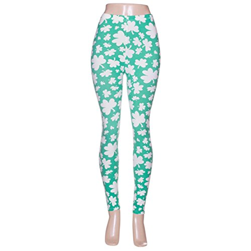 Rosemarie Collections Women's St Patrick's Day Lucky Printed Leggings