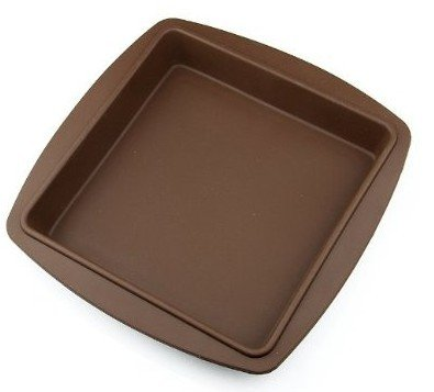 Allforhome 8 inch Square Silicone Bakeware Cake Baking Mold Homemade Cake Pans Handmade Dessert Bread Loaf Pizza Toast Making Tray Non-stick Silicone Cake DIY Mould Baking Mould Moules à Gâteaux TRTA11A