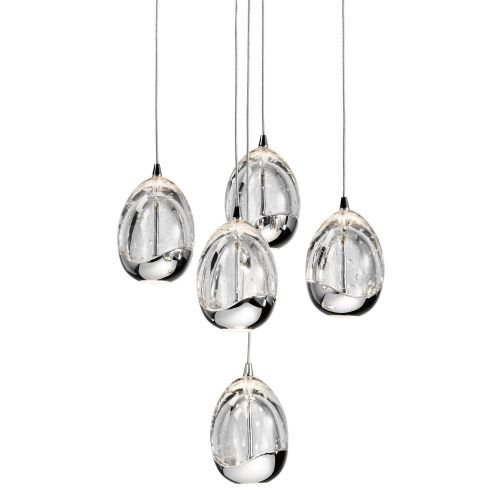 Elan Lighting Lavinia 5 Light Round LED Pendant in Chrome
