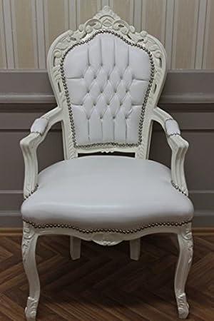 LouisXV Sillón Barroco fauteuille en Color Blanco cremoso de ...