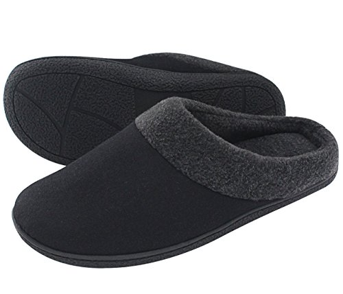HomeIdeas Men's Woolen Fabric Memory Foam Anti-Slip House Slippers