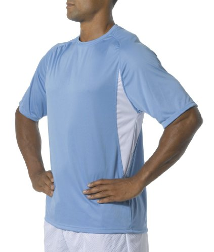 A4 Men's Cooling Performance Color Block Short Sleeve Tee, Light Blue/White, X-Large