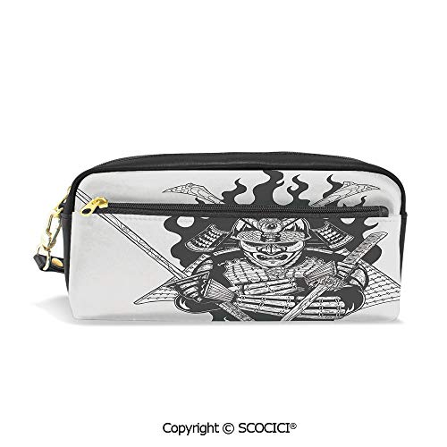 (Students PU Pencil Case Pouch Women Purse Wallet Bag Fearsome Ninja in Fire Oriental Mythology Spiritual Eastern Fighter Print Waterproof Large Capacity Hand Mini Cosmetic Makeup Bag)