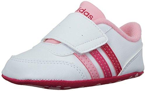 (adidas Kids' V Jog Crib (Infant/Toddler) Sneaker, White/Bold Pink, 4 M)
