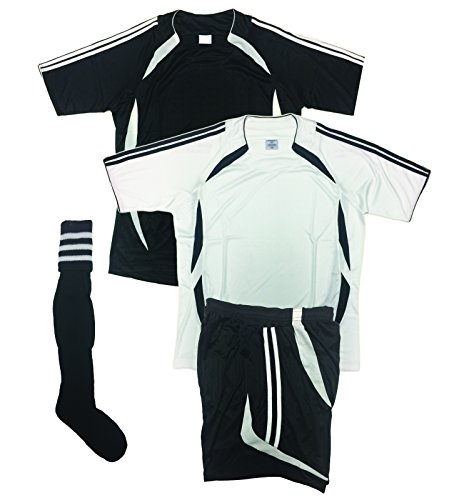Soccer Uniforms for Team,Youth and Adult (4 PCS SET), (two jerseys,Home and Away, One Short and One Pair of Socks, any color you choose) Royal, Black, Purple, (Medium, Black/White)