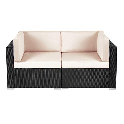 Patio Outdoor Furniture Couch PE Black Wicker Garden Sectional Rattan with Cushions Party Conversation Sofa Sets (2 Piece)