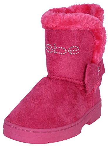 (bebe Toddler Girls Chatz Micro Suede Boots with Rhinestone Embellished Logo & Bow, Fuchsia, Size 8')