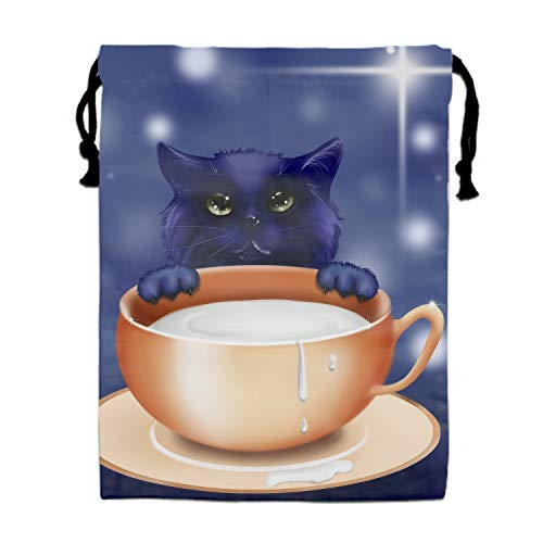 Kitten Milk Cup Art Cute Drawstring Backpack Bags for Party Favors Supplies Birthday, Gift for Kids Teens Boys and Girls, 1 Pack 15.75 x 11.8