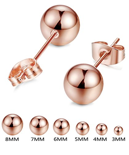 FIBO STEEL Rose Gold Plated Earrings for Women Men Stainless Steel Ball Stud Earings 3mm-8mm Available