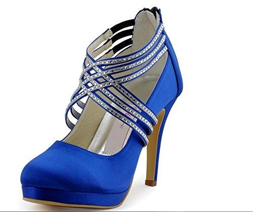 Heel Pumps Cross Women Strap Wedding Satin Blue Ivory Bridal Shoes Blue Navy Beverly Stewart White Crystal High Party Platform Prom Silver tFq4w4