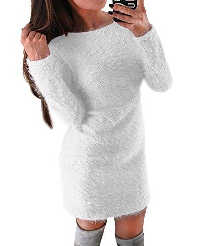Otoño Largo Mini Vestido de Casual Suéter Partido Larga Pulóver Invierno y Mujer de Manga Sherpa Moda Túnicas Vestido Jerséis rqCwrZ0