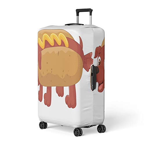 Pinbeam Luggage Cover Wiener Hot Dog Cartoon Character American Ballpark Bratwurst Travel Suitcase Cover Protector Baggage Case Fits 18-22 -
