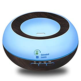 EXTENDED FAMILY Essential Oil Diffuser Humidifier 7 LED Color lights,300ml Aroma Wood Grain Ultrasonic Cool Mist Essential Oil Diffuser,4 Timer Settings