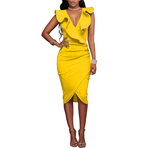 Women's Ruffles V-Neck Ruched Cocktail Club Evening Party Falbala Bodycon Dress XL Yellow ()